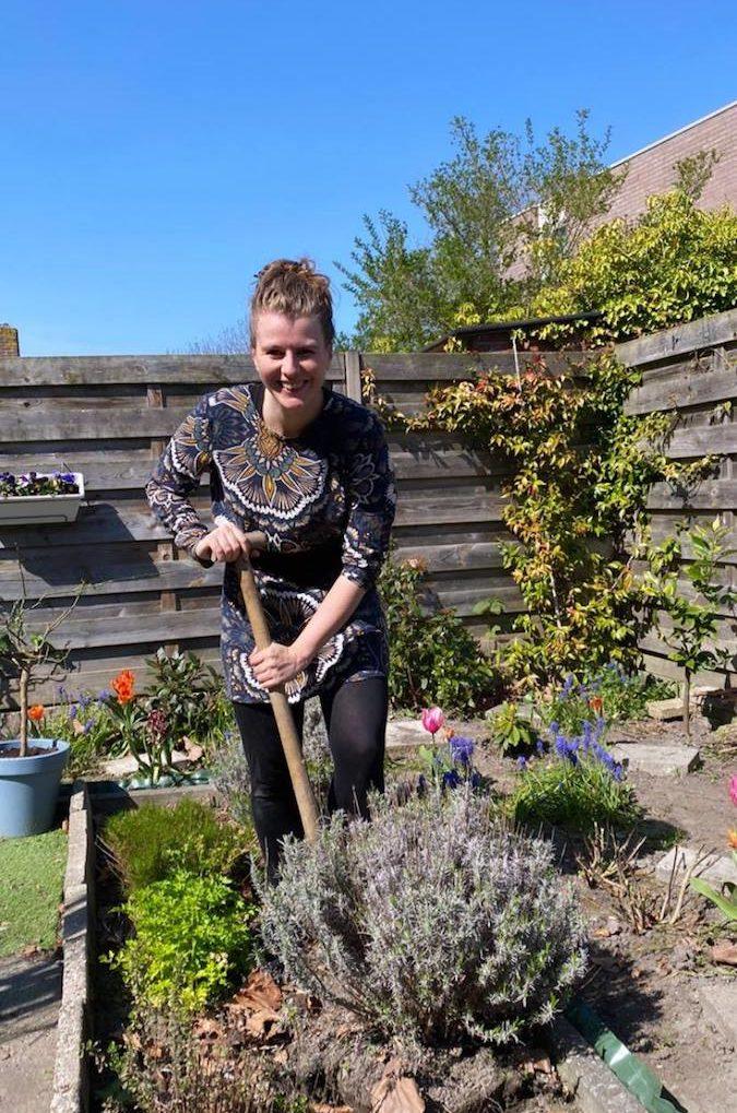 Marjolein digging a garden in Middelburg